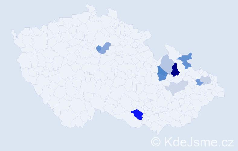 Příjmení: 'Biedová', počet výskytů 16 v celé ČR