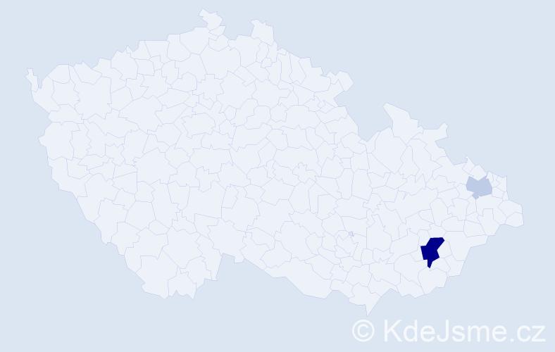 Příjmení: 'Lábska', počet výskytů 10 v celé ČR