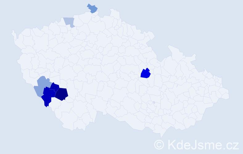 Příjmení: 'Dancová', počet výskytů 12 v celé ČR