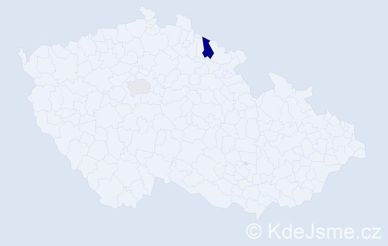 Příjmení: 'Brána', počet výskytů 3 v celé ČR