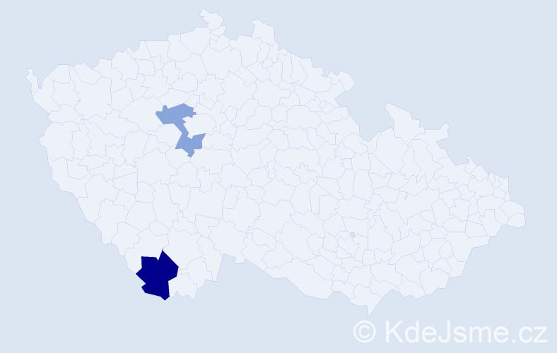 Příjmení: 'Irlingová', počet výskytů 4 v celé ČR