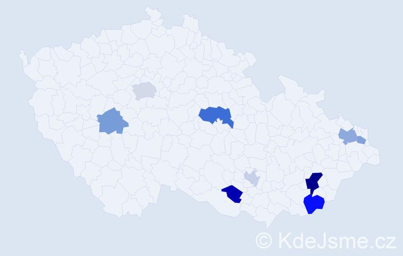 Příjmení: 'Dogan', počet výskytů 16 v celé ČR