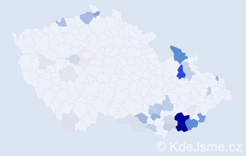 Příjmení: 'Křápková', počet výskytů 158 v celé ČR