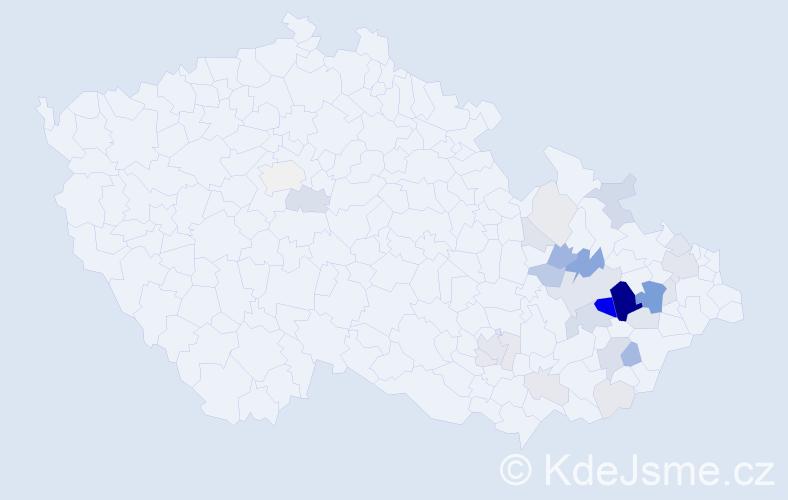 Příjmení: 'Kelar', počet výskytů 91 v celé ČR