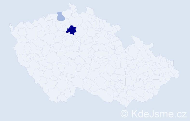 Příjmení: 'Korfelová', počet výskytů 4 v celé ČR