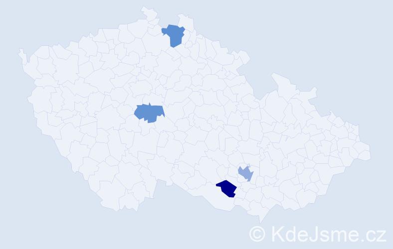 Příjmení: 'Bekeš', počet výskytů 6 v celé ČR