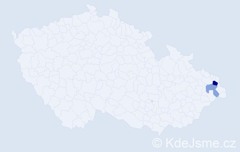 Příjmení: 'Érseková', počet výskytů 5 v celé ČR