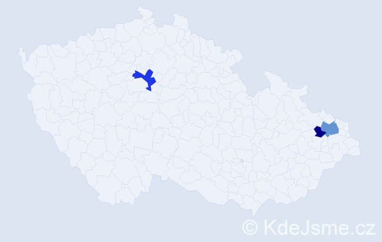 Příjmení: 'Bálik', počet výskytů 6 v celé ČR