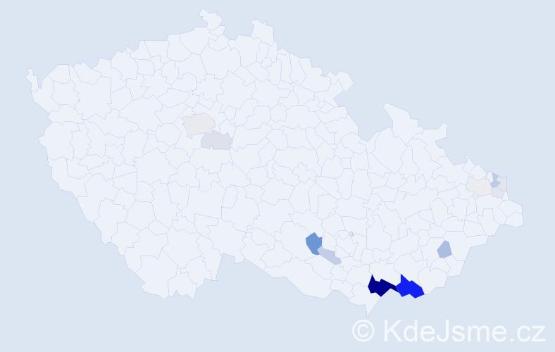 Příjmení: 'Koštuřík', počet výskytů 53 v celé ČR