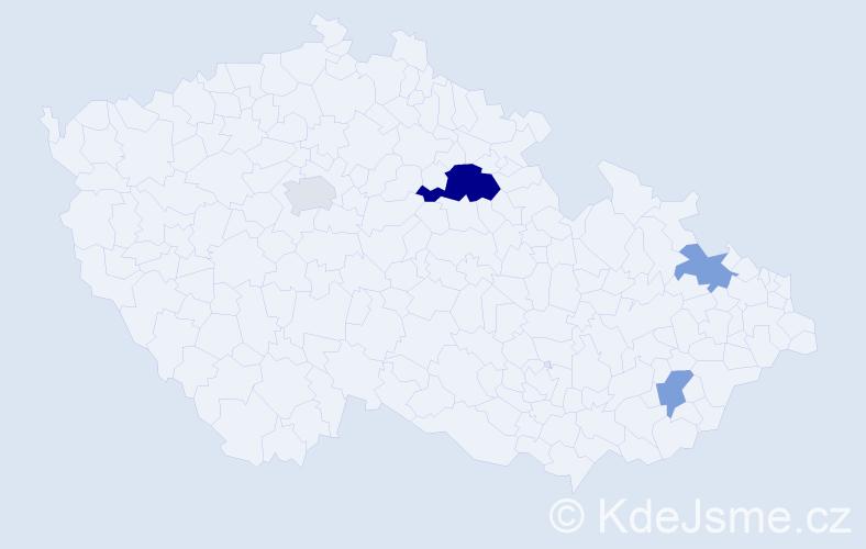 Příjmení: 'Bartůška', počet výskytů 15 v celé ČR