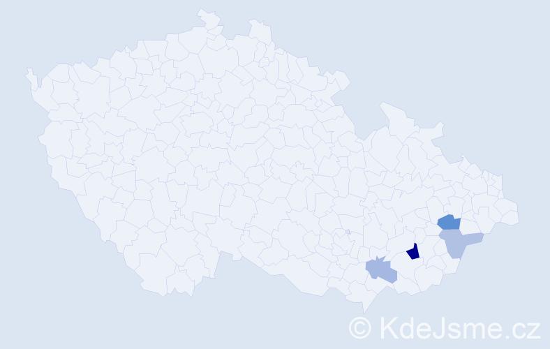Příjmení: 'Fábík', počet výskytů 8 v celé ČR