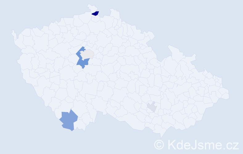 Příjmení: 'Kemp', počet výskytů 8 v celé ČR