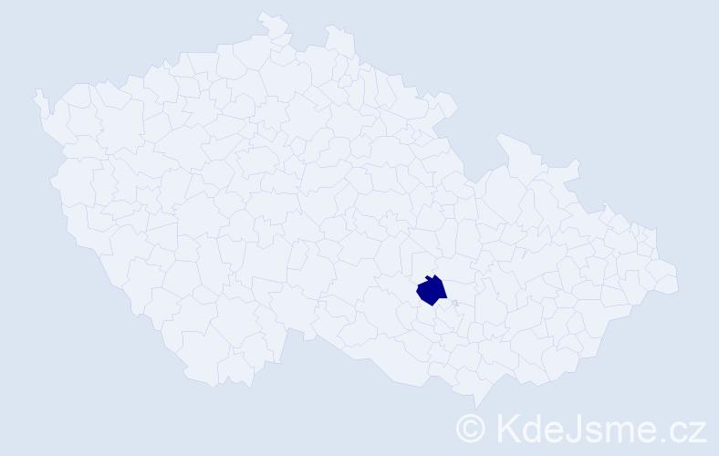 """Příjmení: '""""Čurjáková Žáková""""', počet výskytů 1 v celé ČR"""