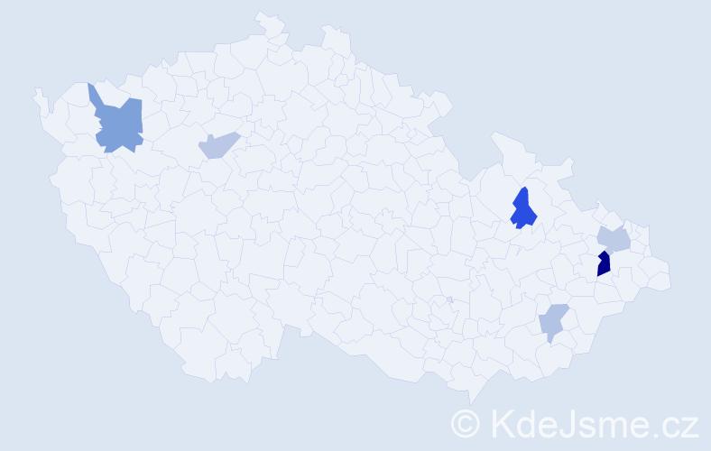 Příjmení: 'Darivčáková', počet výskytů 11 v celé ČR