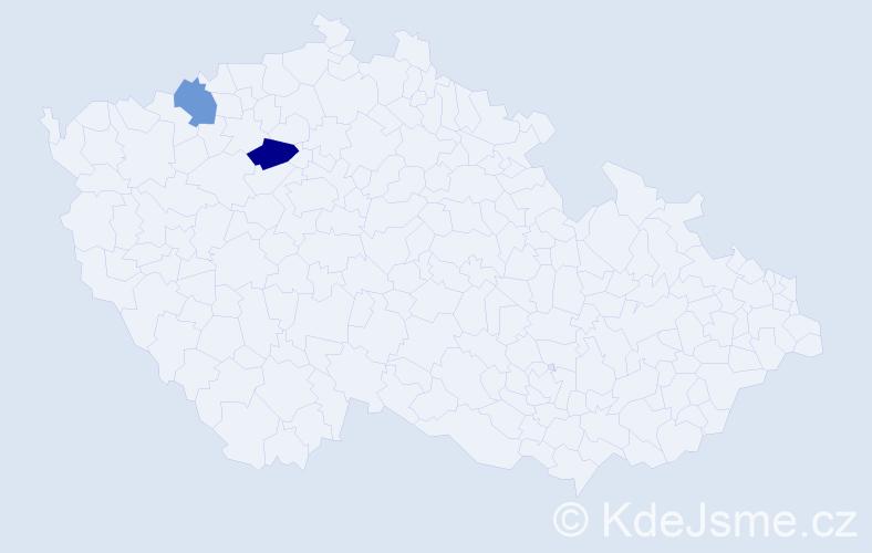 Příjmení: 'Hagenštocová', počet výskytů 5 v celé ČR
