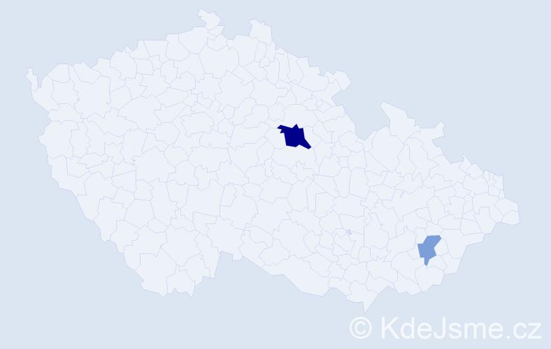 Příjmení: 'Čapeková', počet výskytů 5 v celé ČR