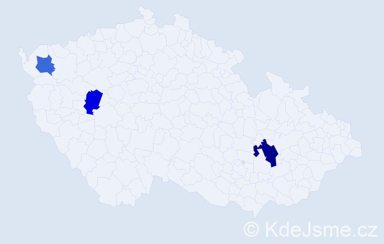 Příjmení: 'Ileš', počet výskytů 4 v celé ČR