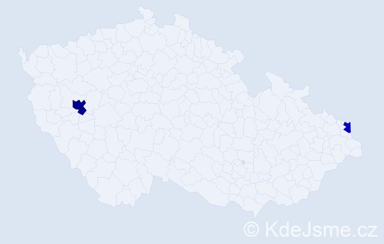 Příjmení: 'Bimbo', počet výskytů 3 v celé ČR