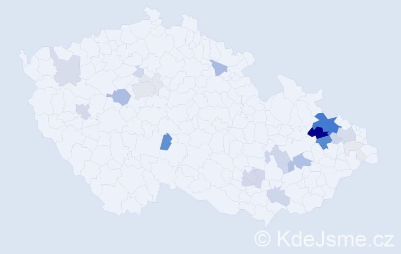 Příjmení: 'Kolovrat', počet výskytů 85 v celé ČR
