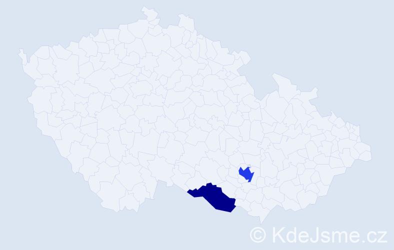 Příjmení: 'Debsová', počet výskytů 9 v celé ČR