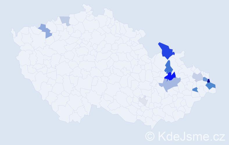 Příjmení: 'Čapkovič', počet výskytů 23 v celé ČR