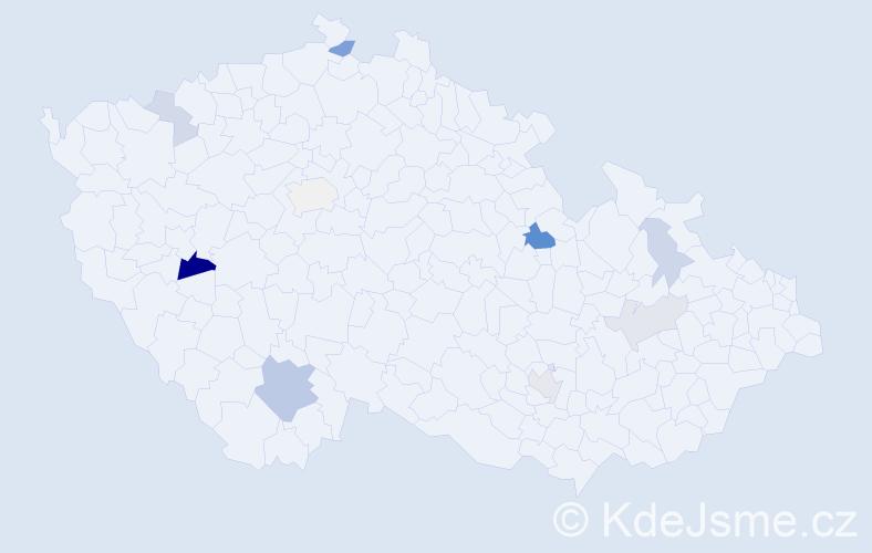 Příjmení: 'Čižmárik', počet výskytů 20 v celé ČR