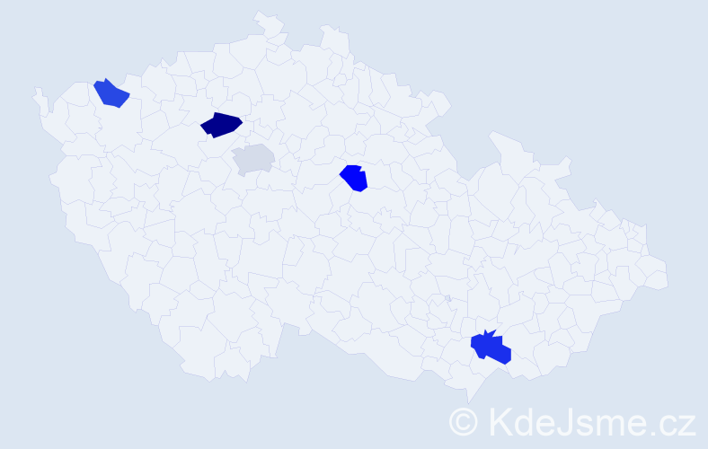 Příjmení: 'Boka', počet výskytů 8 v celé ČR