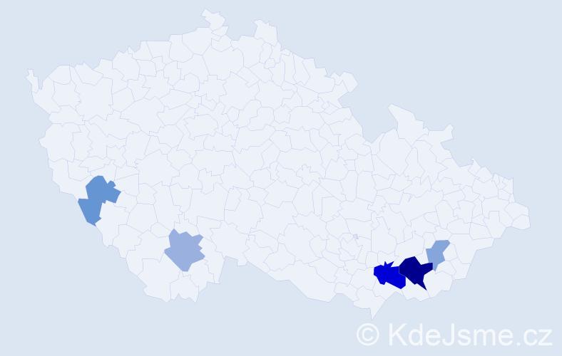 Příjmení: 'Hrkalíková', počet výskytů 19 v celé ČR