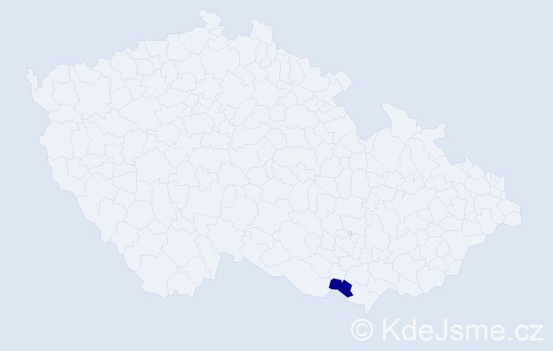 """Příjmení: '""""Brucháčková Závodná""""', počet výskytů 1 v celé ČR"""