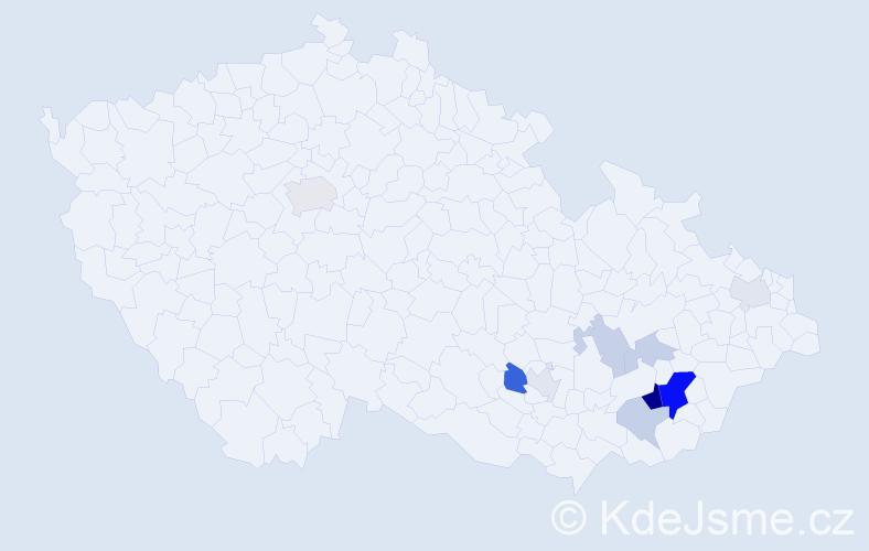 Příjmení: 'Čeleďa', počet výskytů 23 v celé ČR