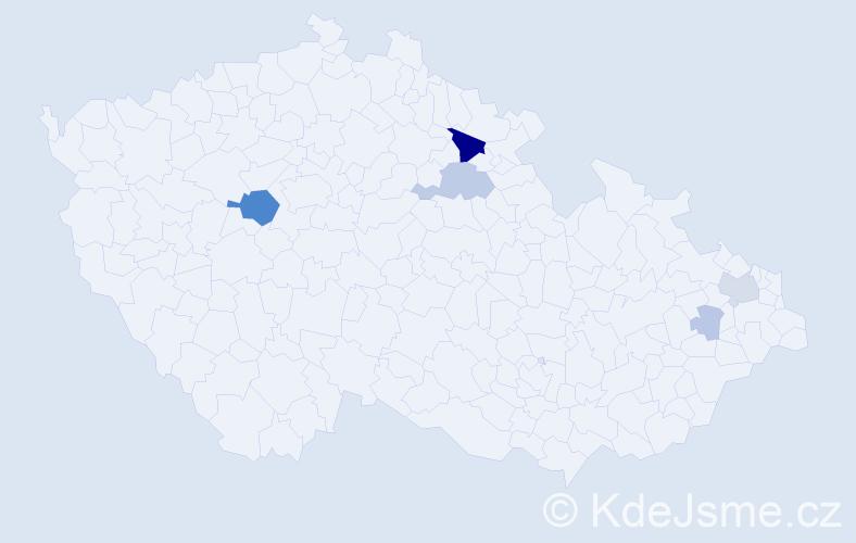 Příjmení: 'Jahnátková', počet výskytů 15 v celé ČR