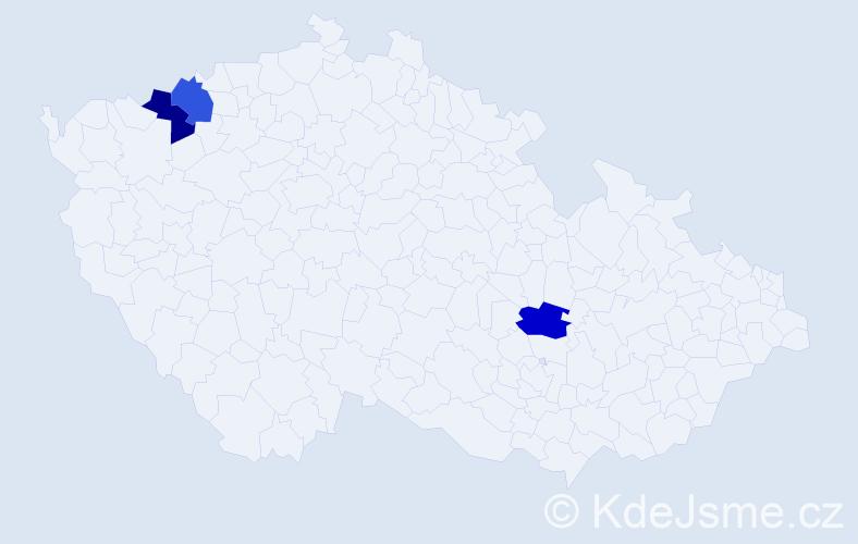Příjmení: 'Derinková', počet výskytů 3 v celé ČR