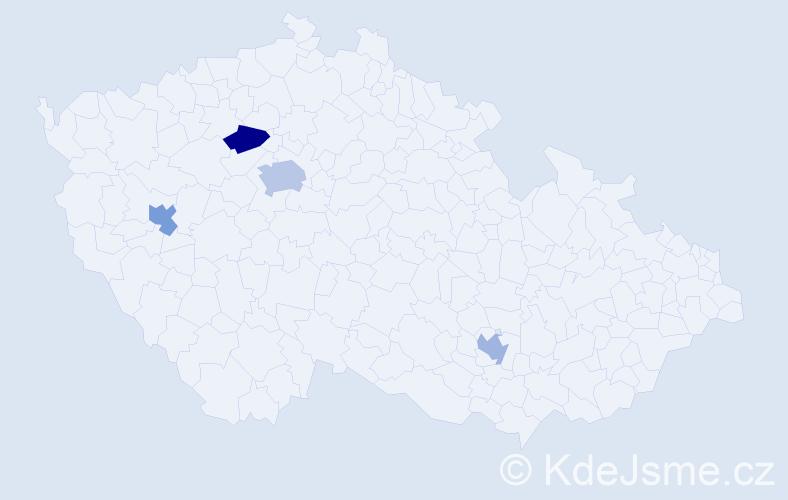 Příjmení: 'Abed', počet výskytů 5 v celé ČR