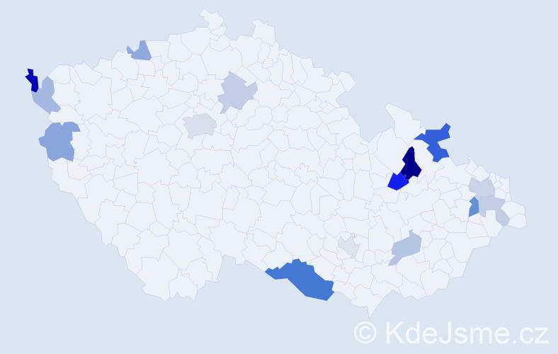 Příjmení: 'Labant', počet výskytů 29 v celé ČR