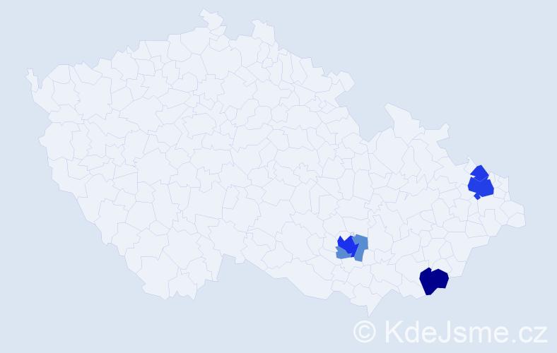 Příjmení: 'Bušovová', počet výskytů 15 v celé ČR