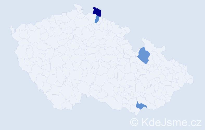 Příjmení: 'Daoová', počet výskytů 4 v celé ČR