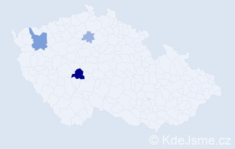 Příjmení: 'Demen', počet výskytů 7 v celé ČR