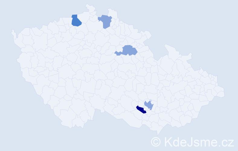 Příjmení: 'Hammerschmiedt', počet výskytů 7 v celé ČR