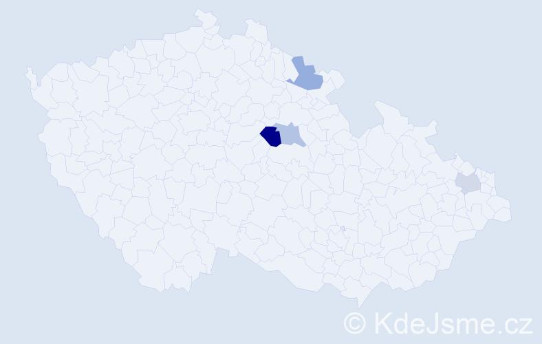 Příjmení: 'Cápayová', počet výskytů 5 v celé ČR