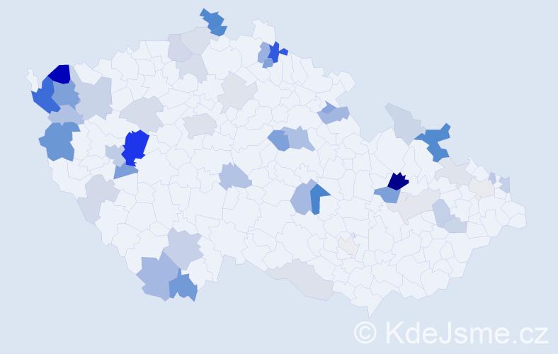 Příjmení: 'Ivaničová', počet výskytů 120 v celé ČR