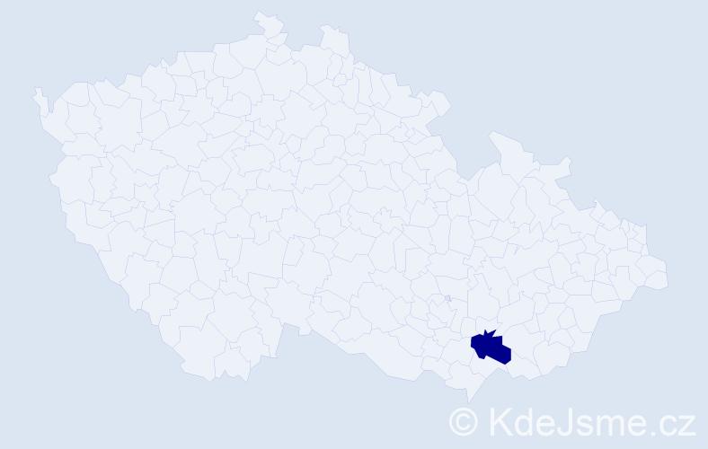 """Příjmení: '""""Koukalová Uličná""""', počet výskytů 1 v celé ČR"""