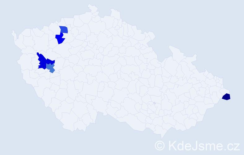 Příjmení: 'Čiliak', počet výskytů 9 v celé ČR