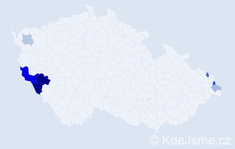 Příjmení: 'Bolec', počet výskytů 16 v celé ČR