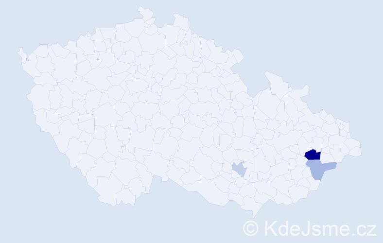 Příjmení: 'Leckéšiová', počet výskytů 7 v celé ČR