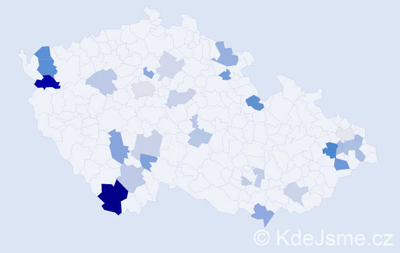 Příjmení: 'Gróf', počet výskytů 54 v celé ČR