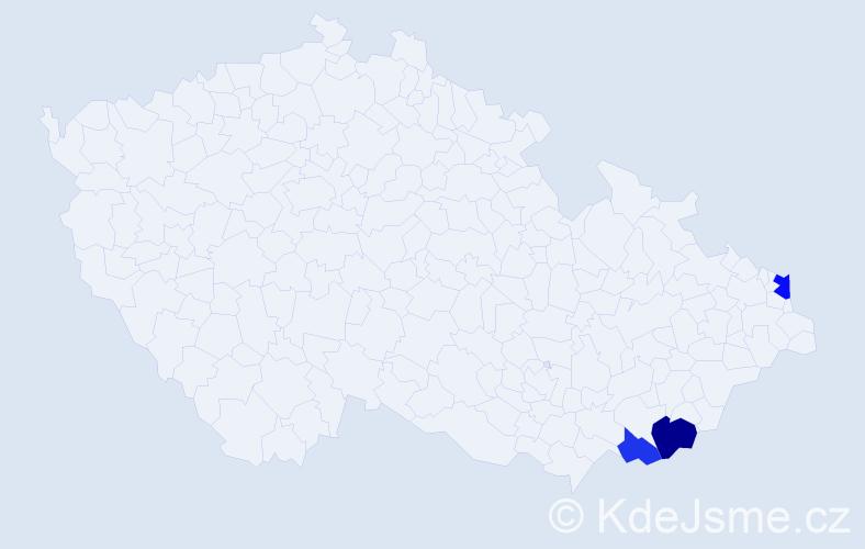Příjmení: 'Káziková', počet výskytů 5 v celé ČR