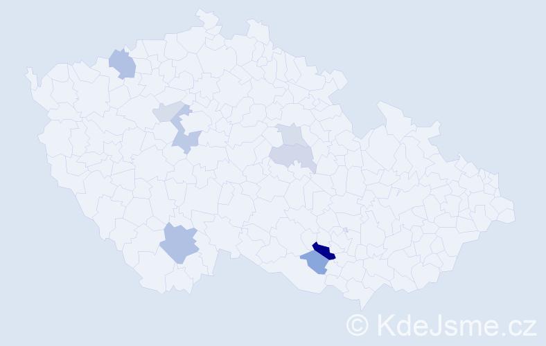 Příjmení: 'Dinušová', počet výskytů 16 v celé ČR