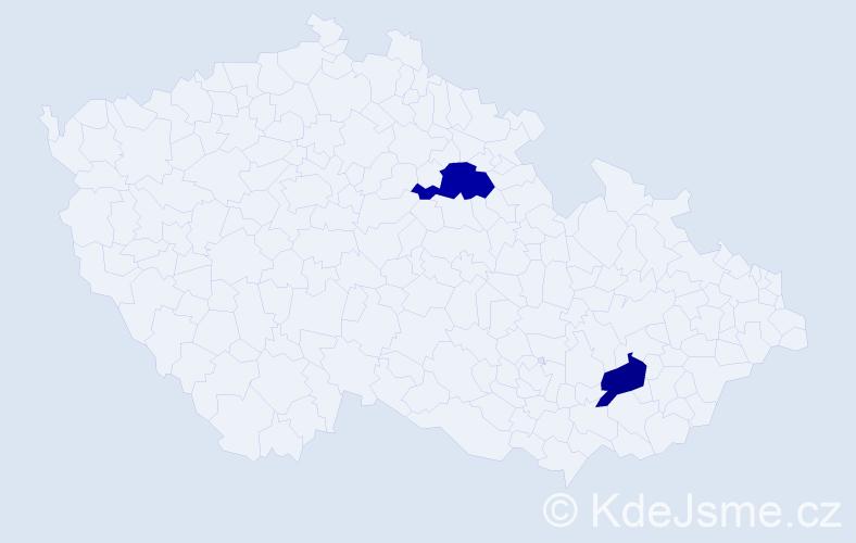 Příjmení: 'Kdoulová', počet výskytů 5 v celé ČR