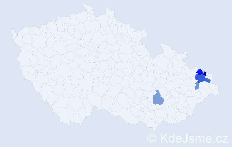 Příjmení: 'Cyganová', počet výskytů 17 v celé ČR