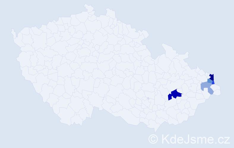 Příjmení: 'Čespivová', počet výskytů 12 v celé ČR